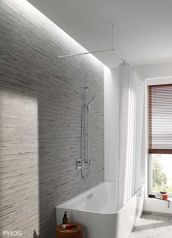 duschvorhangstange aus edelstahl f r badewanne dusche. Black Bedroom Furniture Sets. Home Design Ideas