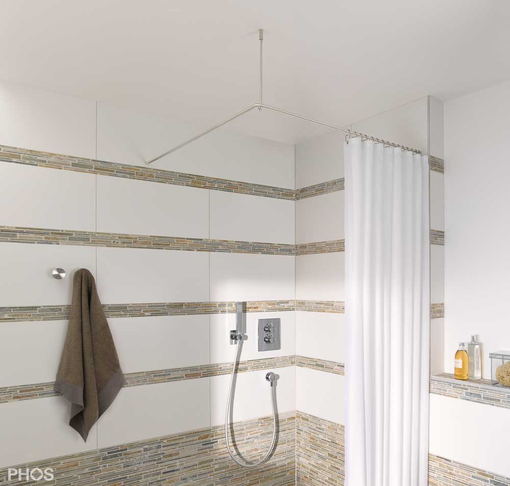 Duschvorhangstange Edelstahl bei PHOS Design-Duschvorhangstangen