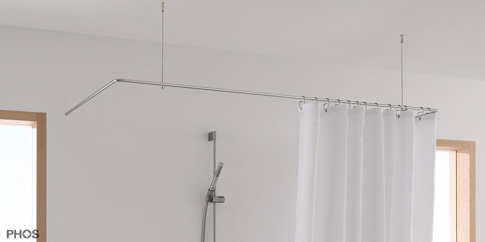 duschvorhangstange in l form u form als winkel. Black Bedroom Furniture Sets. Home Design Ideas