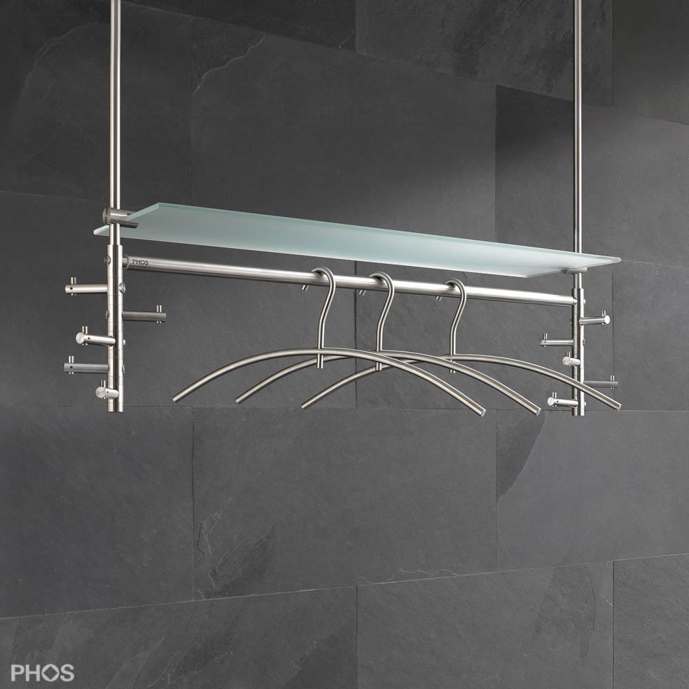 Kleiderstange Deckenbefestigung hängegarderobe aus edelstahl cns deckengarderobe