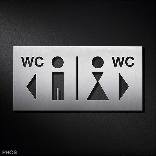 WC-Toilettenschild Herren | Damen WC Richtungspfeile Piktogramm-Kombination PS0210