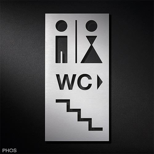 WC-Toilettenschild Herren | Damen WC Treppe Piktogramm-Kombination PS0219