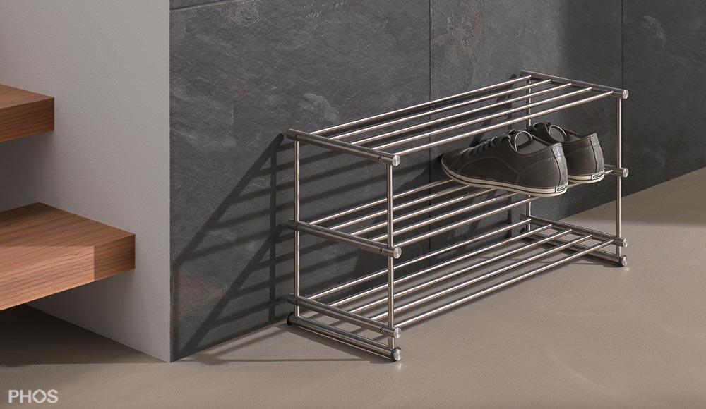 Design schuhregale und schuhablagen aus edelstahl cns