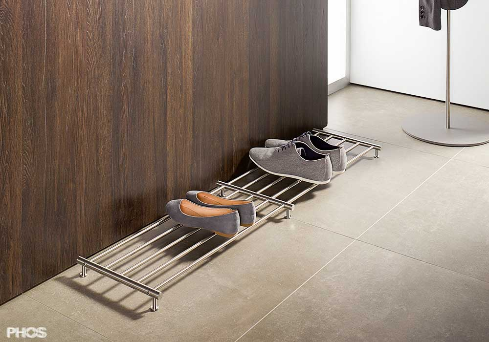 design schuhregale und schuhablagen aus edelstahl cns. Black Bedroom Furniture Sets. Home Design Ideas
