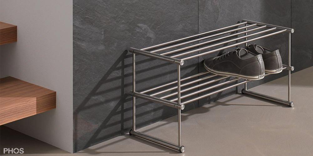 Design Schuhregale und Schuhablagen aus Edelstahl (CNS)