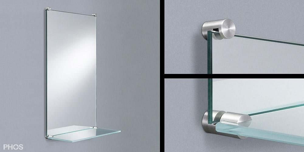 4x Spiegelhalter Glas Befestigung Spiegelklammern Glasplattenträger Edelstahl