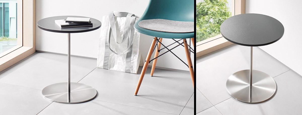 bistro und beistelltische aus edelstahl von phos design. Black Bedroom Furniture Sets. Home Design Ideas