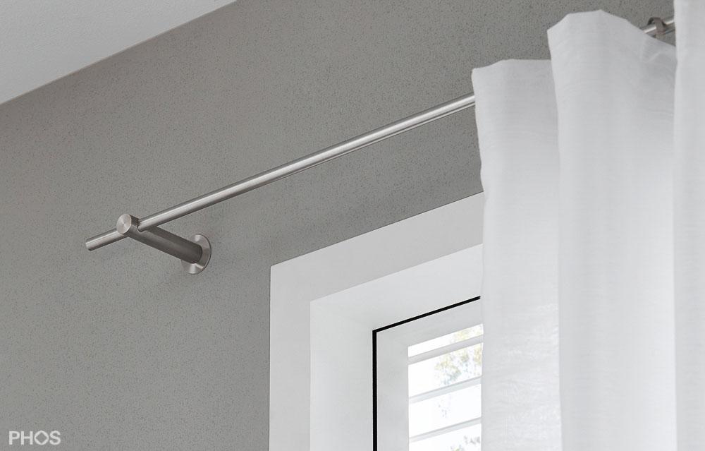 vorhangstange aus edelstahl zur wandbefestigung deckenmontage. Black Bedroom Furniture Sets. Home Design Ideas