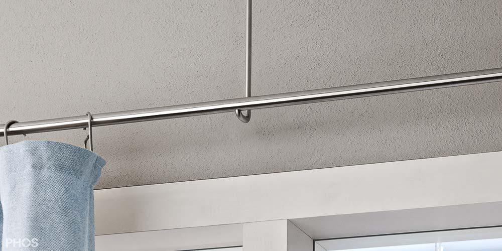 Super Vorhangstange aus Edelstahl zur Wandbefestigung + Deckenmontage PB38
