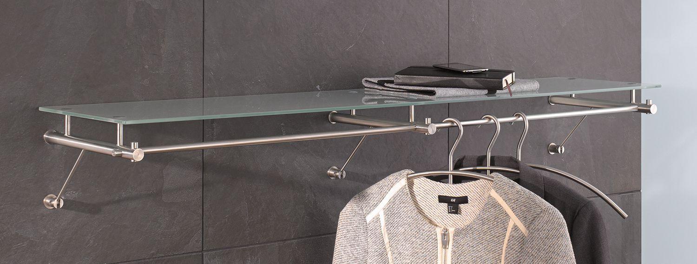 Bezaubernd Edelstahl Garderobe Foto Von Wandgarderobe Mit Glasablage G3-1200g Und Kleiderbügeln