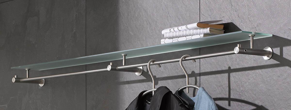 hochwertige wandgarderobe aus edelstahl. Black Bedroom Furniture Sets. Home Design Ideas