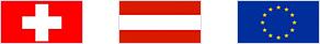 Flagen CH, AT und EU
