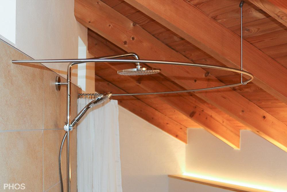 Dusche Dachschr?ge Duschvorhang : Duschvorhangstange aus Edelstahl (CNS) f?r Dusche + Badewanne
