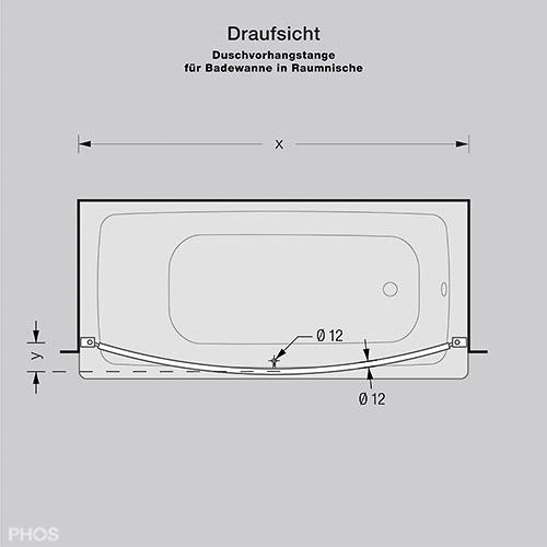 duschvorhangstange aus edelstahl (cns) für badewanne + dusche, Hause ideen