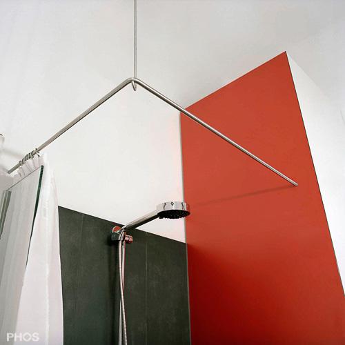 duschvorhangstange edelstahl l f rmige eckl sung mit direktem wandanschluss. Black Bedroom Furniture Sets. Home Design Ideas