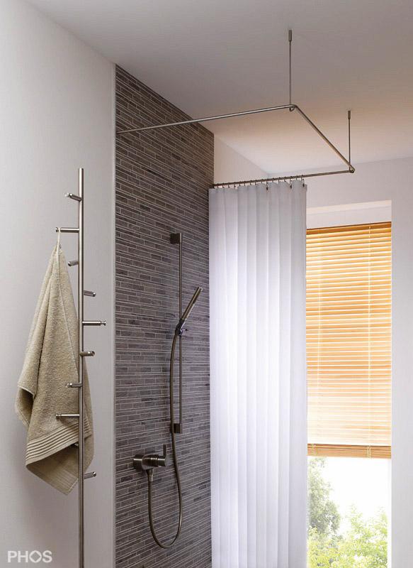 Duschvorhangstange aus Edelstahl (CNS) für Badewanne + Dusche