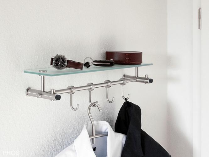 flurgarderobe nischengarderobe edelstahl design g9 500 mit zus tzlichen h ngehaken hk12 und. Black Bedroom Furniture Sets. Home Design Ideas