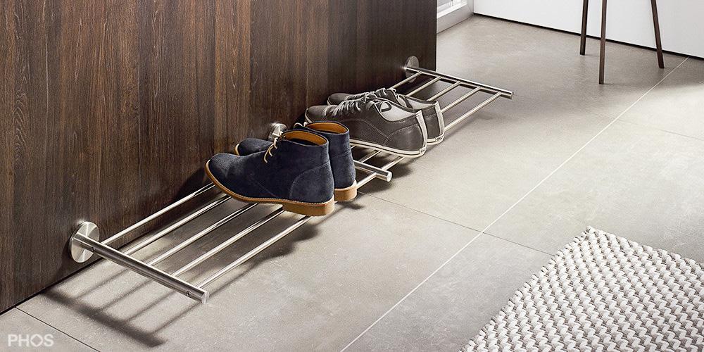 Design schuhregal aus edelstahl cns f r ihre schuhe - Schuhregal wandmontage ...