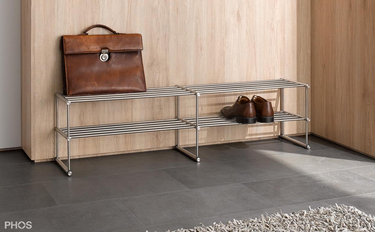 design schuhregal aus edelstahl f r ihre schuhe. Black Bedroom Furniture Sets. Home Design Ideas