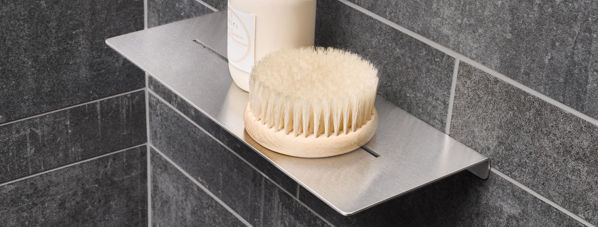 duschablage edelstahl bad zubehar und accessoires aus badezimmer geburstet