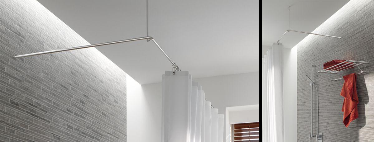 duschvorhangstange aus edelstahl cns f r badewanne dusche. Black Bedroom Furniture Sets. Home Design Ideas